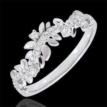 Anello Giardino Incantato - Fogliame Reale - Oro bianco - 18 carati - Diamanti