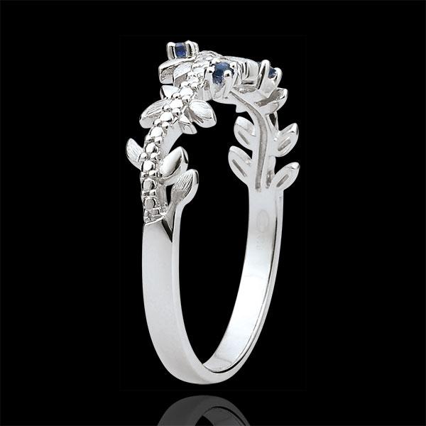 Anello Giardino Incantato - Fogliame Reale - Oro bianco, Diamante e Zaffiri - 9 Carati