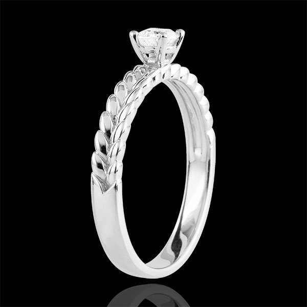 Anello Giardino Incantato - Solitario Treccia - Oro bianco - 18 carati - Diamante
