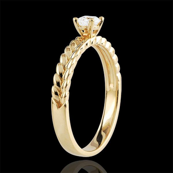 Anello Giardino Incantato - Solitario Treccia - Oro giallo - 9 carati - Diamante