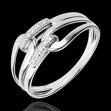 Anello Graffetta - Oro bianco - 18 carati - 2 Diamanti