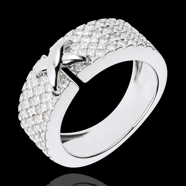 Anello Haute Couture Preziosa - Oro bianco - 18 carati - 60 Diamanti - 0.78 carati