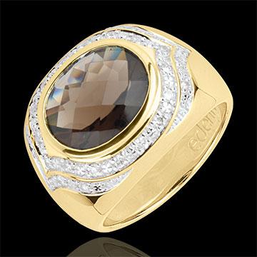 Anello Horus Quarzo fumé - Argento - Diamanti - Pietre dure - 3.98 carati