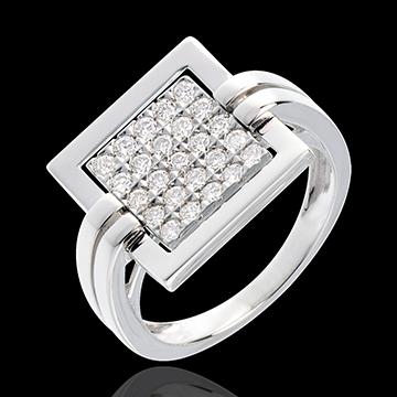 Anello Impronta - Oro bianco pavé - 18 carati - 25 Diamanti - 0.45 carati