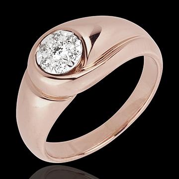 Anello Infinito - Germoglio - Oro rosa -18 carati - Diamanti - 0.137 carati