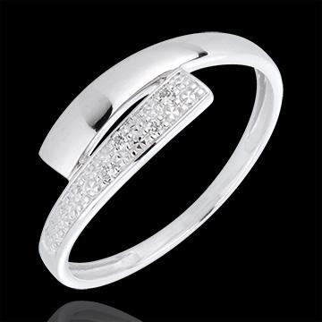 Anello Lumière - Oro bianco - 18 carati - 4 Diamanti