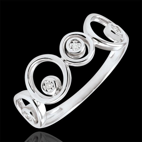 Anello Luna - Oro bianco - 9 carati - 4 Diamanti