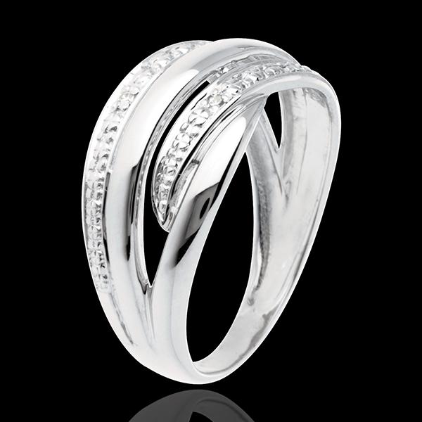 Anello Naja - Oro bianco pavé diamanti - 18 carati - 4 Diamanti