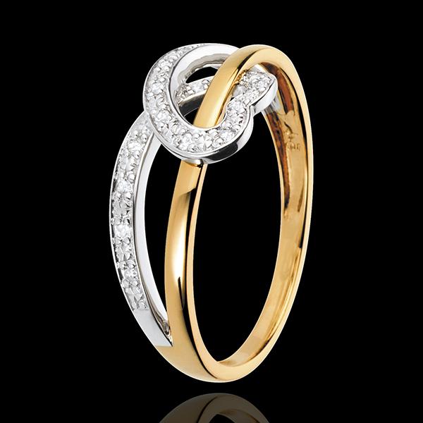 Anello Nastro Cuore - Oro bianco e Oro giallo - 18 carati 16 Diamanti