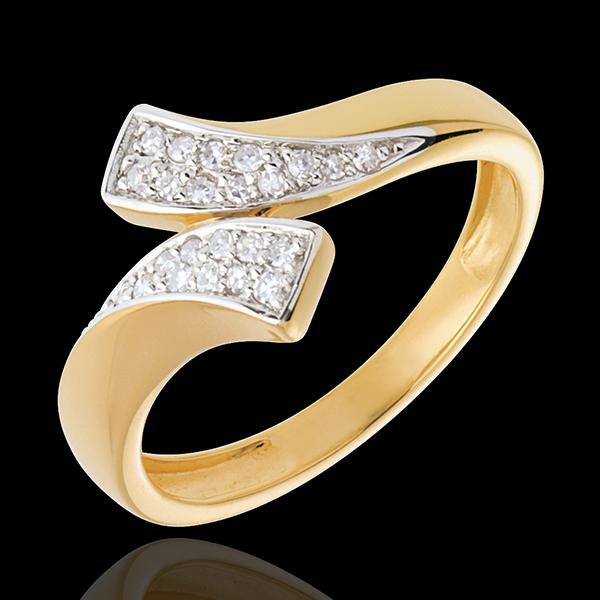 Anello Nastro - Oro giallo e Oro bianco pavé - 18 carati - 24 Diamanti - 0.12 carati