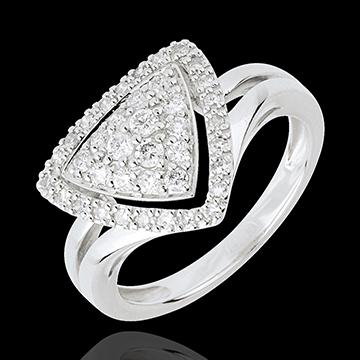 Anello Navetta diamanti - Oro bianco - 18 carati - 39 Diamanti - 0.47 carati
