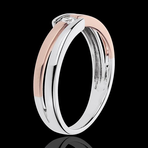 Anello Nido Prezioso - Salomé - Oro rosa e Oro bianco - 18 carati- Diamante