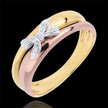 Anello Fiocco dell'Eden - tre Ori - 18 carati - 5 Diamanti