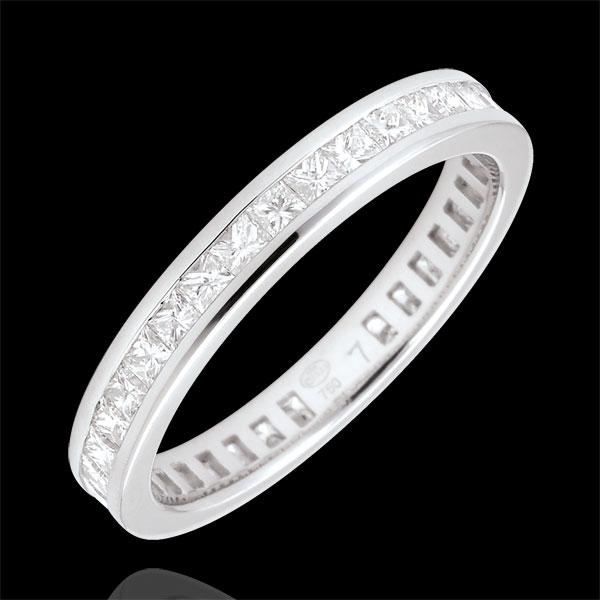 Anello Oro bianco pavé - 18 carati - 36 Diamanti - incastonatura a binario - giro completo - 1.02 carati