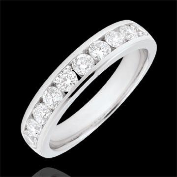Anello Oro bianco semi pavé - 18 carati - 10 Diamanti - incastonatura a binario - 0.67 carati