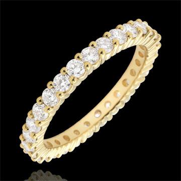 Anello oro giallo pavée - incastonato griffe - 1.11 carati - Cerchio completo