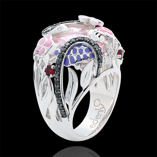 Anello Passeggiata Immaginaria - Paradiso rosa - Argento - Diamanti - 0.59 carati - Pietre dure