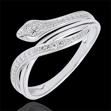 Anello Passeggiata Immaginaria - Serpente Ammaliante - oro bianco e diamanti - 18 carati.