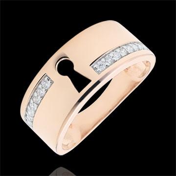 Anello Prezioso Segreto - Diamanti - Oro rosa - 18 carati