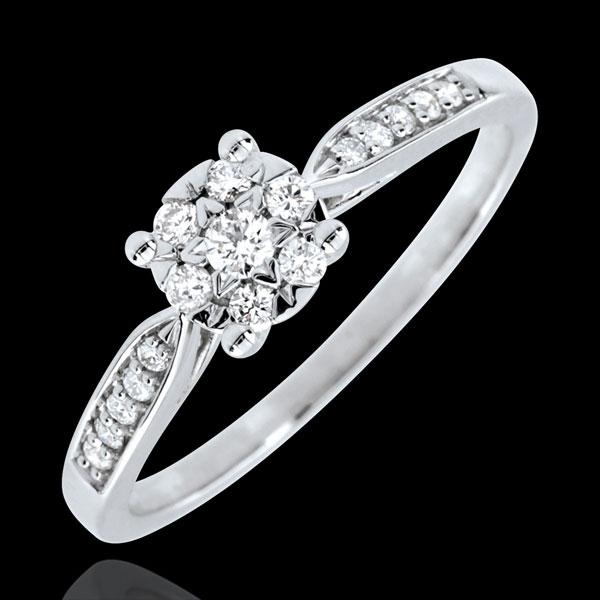 Anello Reale giunco sfera pavé - Oro bianco - 9 carati - 17 Diamanti - 0.18 carati - Diamante centrale - 0.12 carati