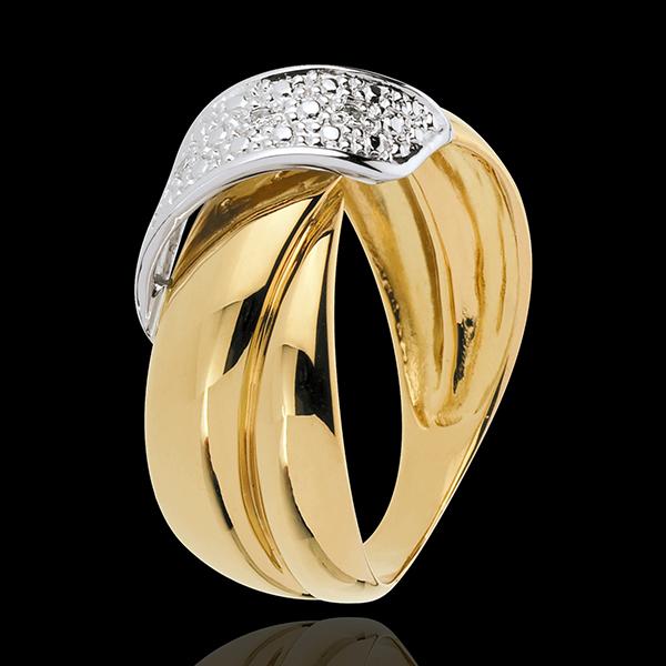 Anello Ricciolo d'Oro - Oro giallo pavé - 18 carati - 6 Diamanti