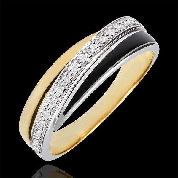 Anello Saturno Diamante - Oro bianco e Oro giallo - 9 carati - Lacca nera - Diamanti