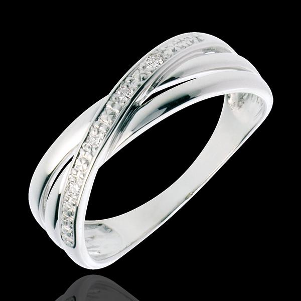 Anello Saturno Duetto variazione - Oro bianco - 18 carati - 4 Diamanti