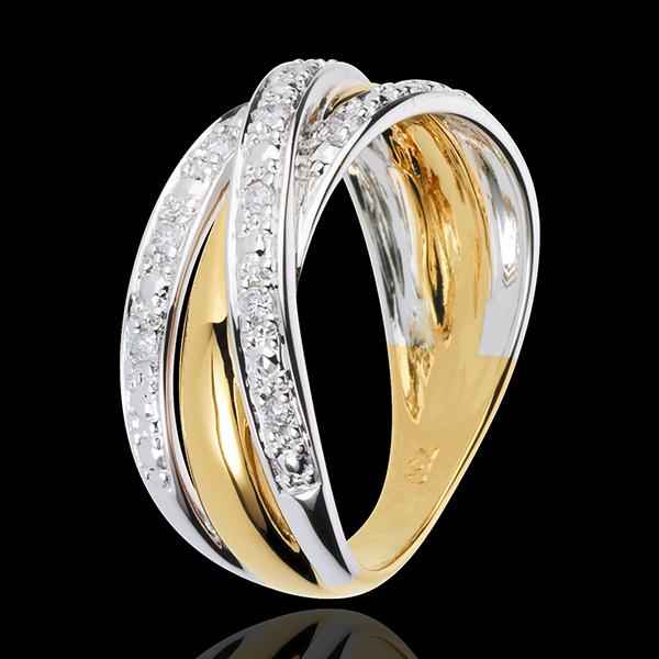 Anello Saturno Illusione - Oro giallo e Oro bianco - 18 carati - 13 Diamanti