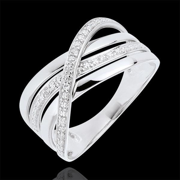 Anello Saturno Quadri - oro bianco - diamanti - 9 carati.