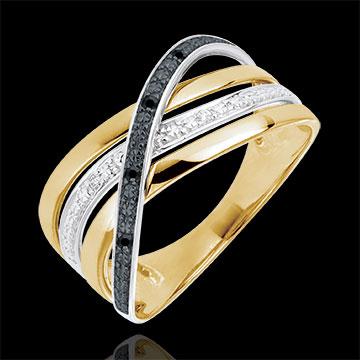 Anello Saturno Quadri - oro giallo - diamanti neri e bianchi - 9 carati.