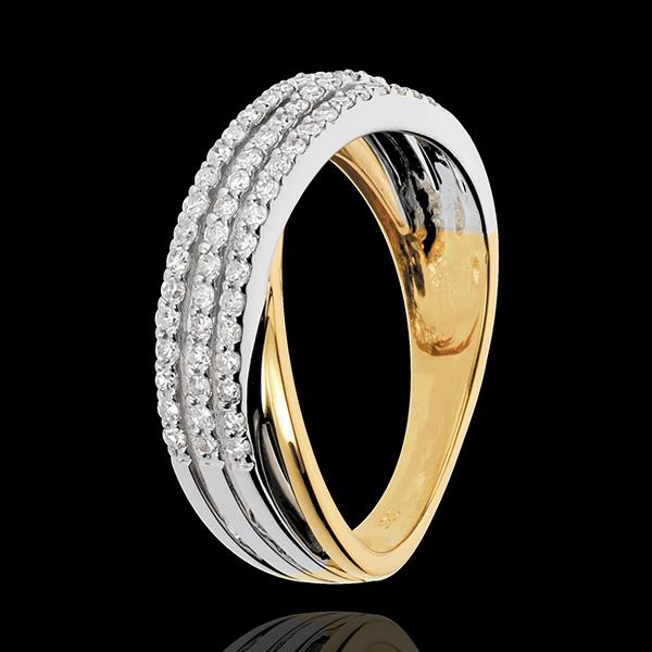 Anello Saturno Ricco - Oro bianco e Oro giallo - 18 carati - 60 Diamanti - 0.36 carati