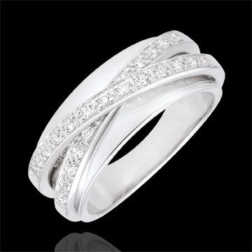 Anello Saturno Specchio - Oro bianco - 18 carati - 23 Diamanti - 0.21 carati