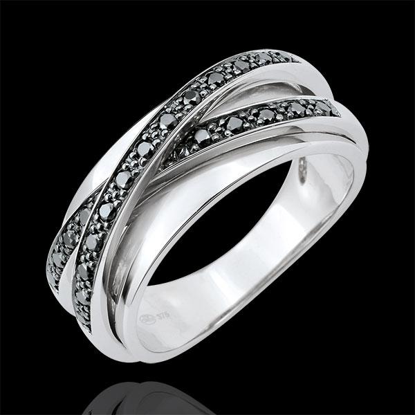 Anello Saturno Specchio - oro bianco e diamanti neri - 23 diamanti - 18 carati