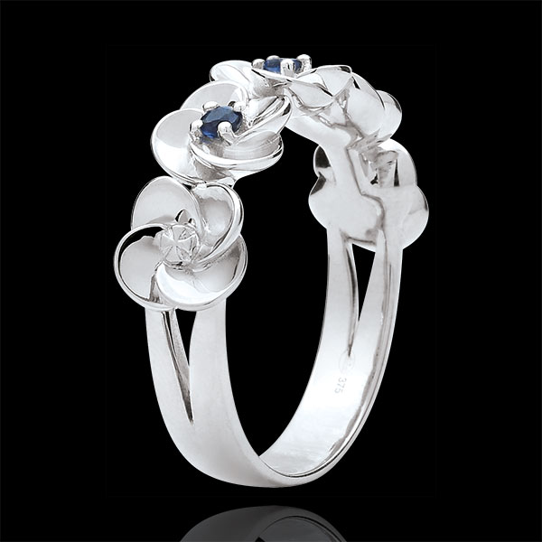 Anello Sboccio - Corona di rose - Oro bianco e Zaffiri - 9 carati