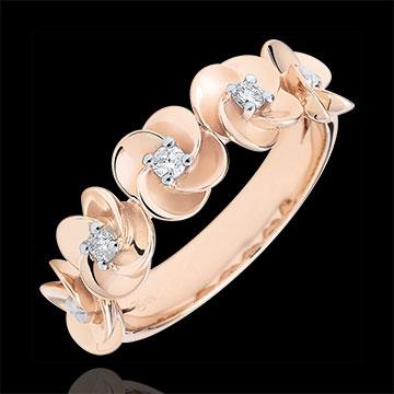 Anello Sboccio - Corona di rose - Oro rosa e Diamante - 9 carati
