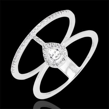 Anello Serafina - oro bianco 9 carati e diamanti