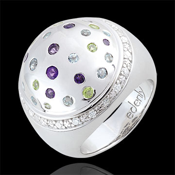 Anello Sfera Misteriosa - Argento, Diamanti e Pietre dure - 1.43 carati
