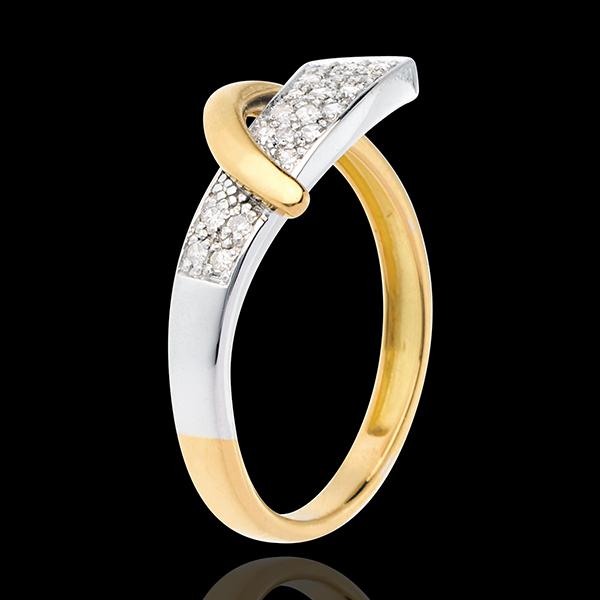 Anello Sirena - Oro giallo e Oro bianco pavé - 18 carati - 20 Diamanti - 0.14 carati