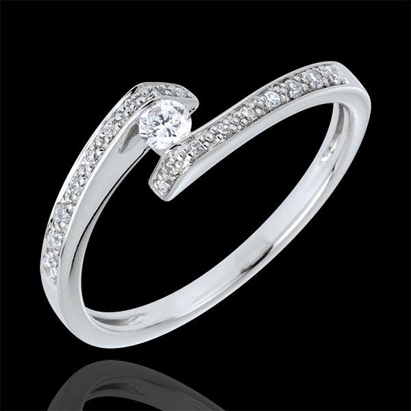 Anello Solitario accompagnato Nido Prezioso - Promessa - Oro bianco - 9 carati - Diamanti - 0.17 carati