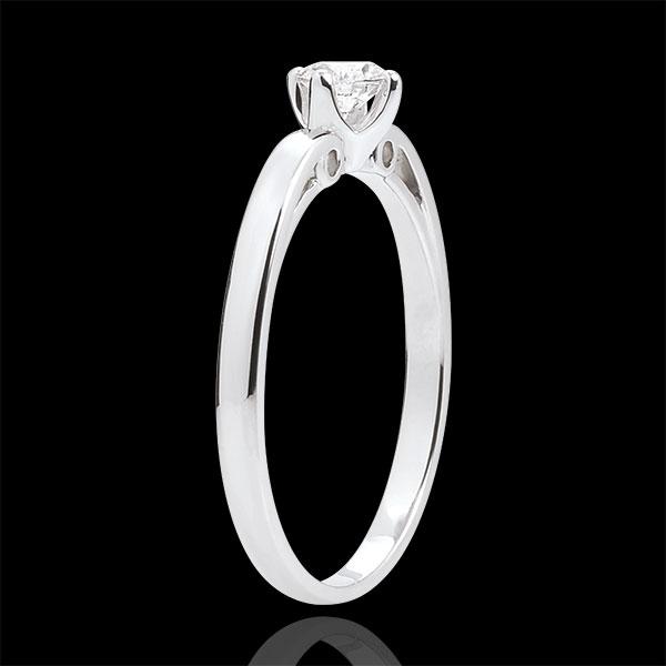 Anello Solitario Bocciolo di Edera - Oro bianco - 18 carati - Diamante - 0.21 carati