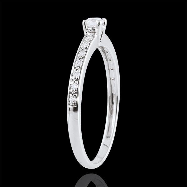 Anello Solitario Boreale - Oro bianco - 9 carati - 15 Diamanti - 0.16 carati - Diamante centrale 0.09 carati