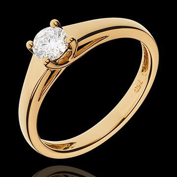 Anello Solitario Diadema - Oro giallo - 18 carati - Diamante - 0.34 carati