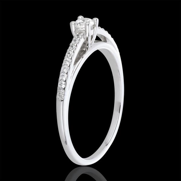 Anello solitario diamante - Avalon - Oro bianco - 18 carati - 19 Diamanti - 0.23 carati