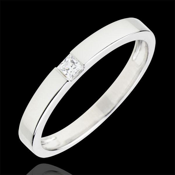 Anello Solitario Disegno Tecnico - Oro bianco - 18 carati - Diamante Principessa