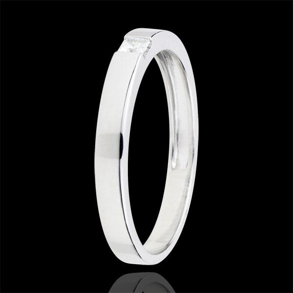Anello Solitario Disegno Tecnico - Oro bianco - 9 carati - Diamante Principessa