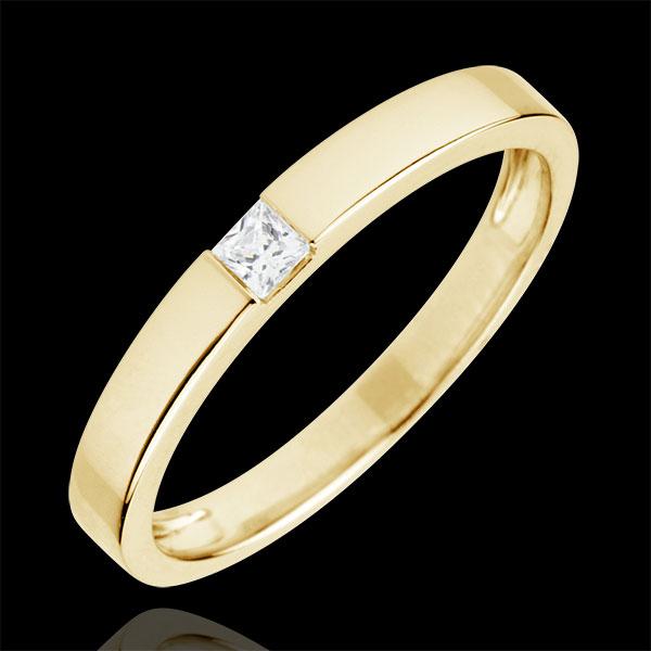 Anello Solitario Disegno Tecnico - Oro giallo - 18 carati - Diamante taglio Principessa