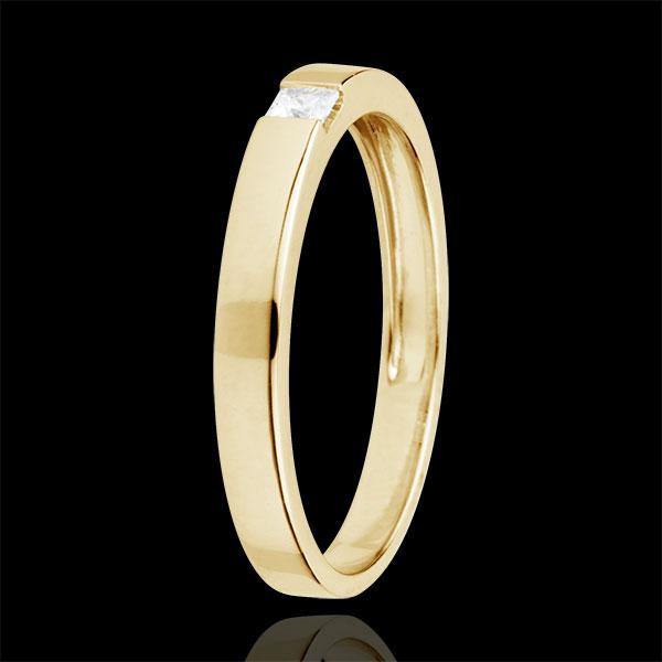Anello Solitario Disegno Tecnico - Oro giallo - 9 carati - Diamante taglio Principessa