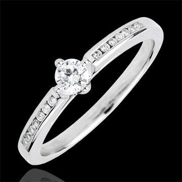 Anello Solitario Divina - 4 griffe - Oro bianco - 9 carati - 15 Diamanti - 0.23 carati