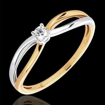 Anello Solitario Ella - Oro giallo e Oro bianco - 18 carati - 1 Diamante