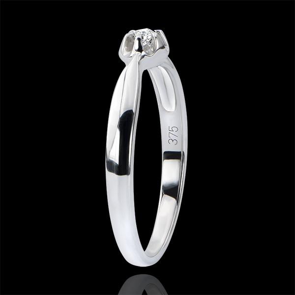 Anello Solitario Freschezza - Bocciolo d'Oro - oro bianco 18 carati e diamante